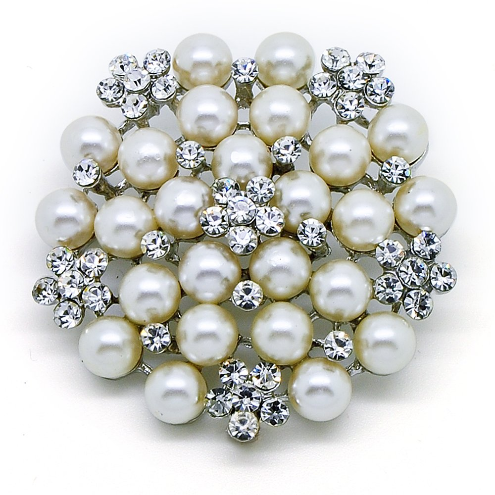 Katie's Style Simulated Pearl Rhinestone Flower Corsage Wedding Brooch Pin