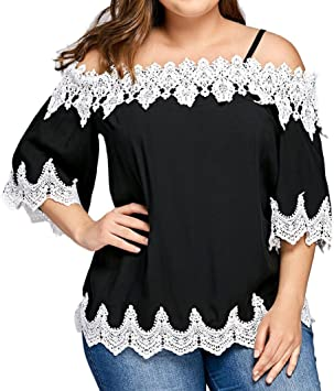 Blusa Sexy Mujer Camiseta de Encaje Mujer con Hombros Descubiertos Blusa Casual Tops de Manga Corta Camisas de Talla Grande Señoras S- XXXXXL: Amazon.es: Deportes y aire libre