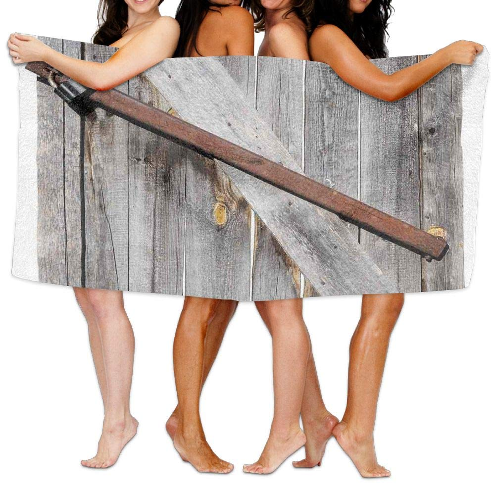Haixia Quick Drying Bath Towels Beach/Bath/Pool Towel 51.2'' X 31.5'' Rustic Aged Wood Barn Door with Rusty Crossed Locks Abandoned Ancient Western Farmhouse Design Full Brown