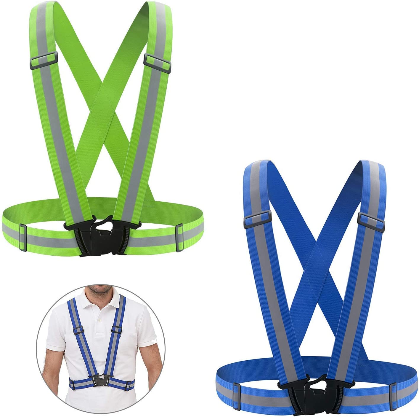 MiaoMa Reflective Vest with Adjustable Strap & Breathable Holes, Safety Vest Waist Belt with 360° High Visibility for Night Running, Jogging, Cycling, Walking (2 Pack)