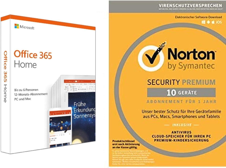 Microsoft Office 365 Home Norton Security Premium 2019 10 Geräte Software