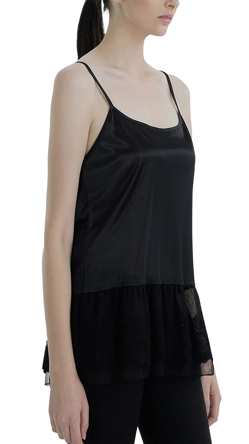 Womens Satin Top Extender Camisole Slip with Circle Lace on The Bottom Shop Lev