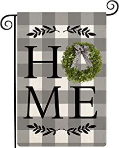 Lifesmells Spring Boxwood Wreath Welcome Home Sweet Small Garden Flag Vertical Double Sided Black White Buffalo Check Plaid Rustic Farmhouse Burlap Flag Yard 12.5 x 18