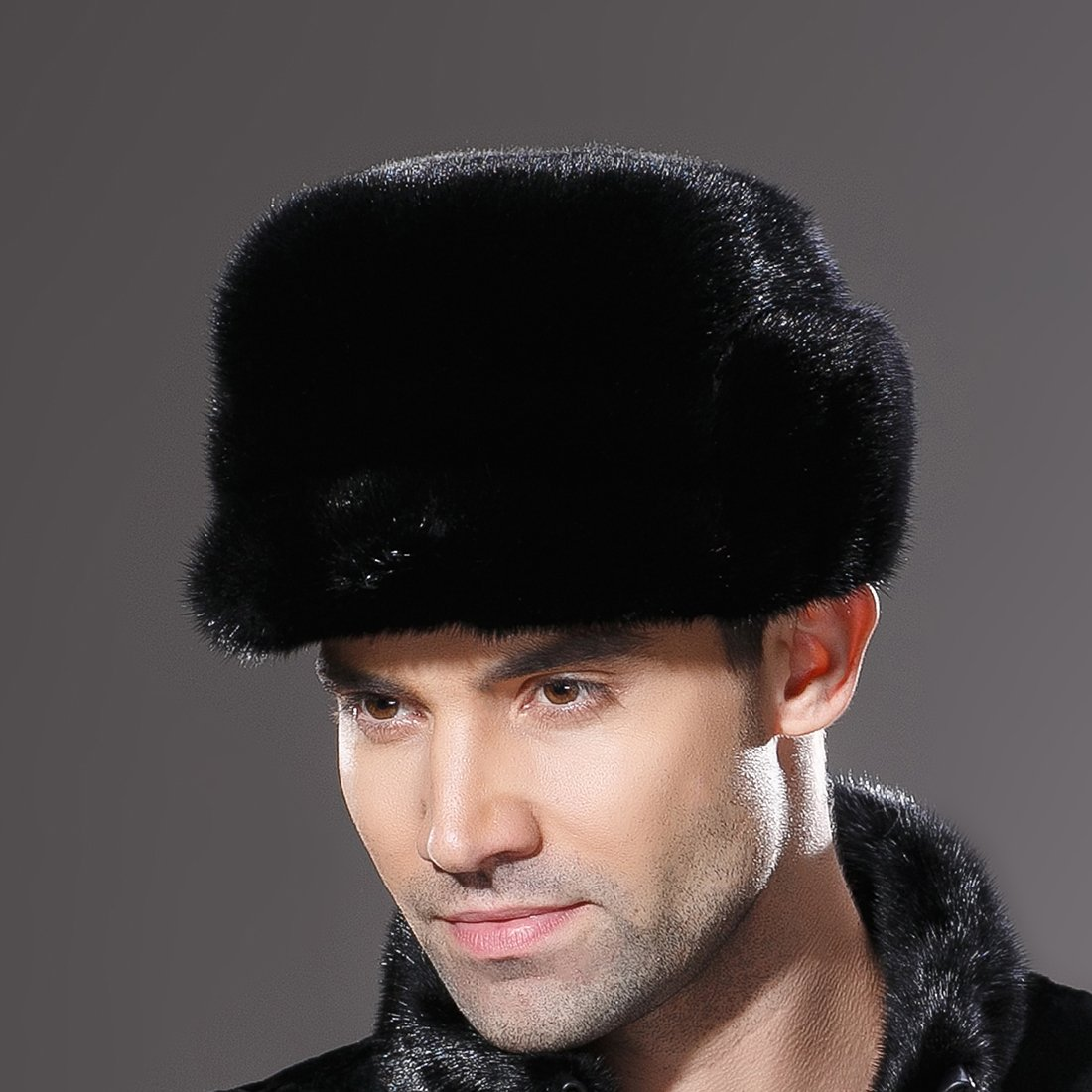 URSFUR Mne's Winter Fur Cap Genuine Mink Fur Fudd Hat Black M by URSFUR (Image #7)