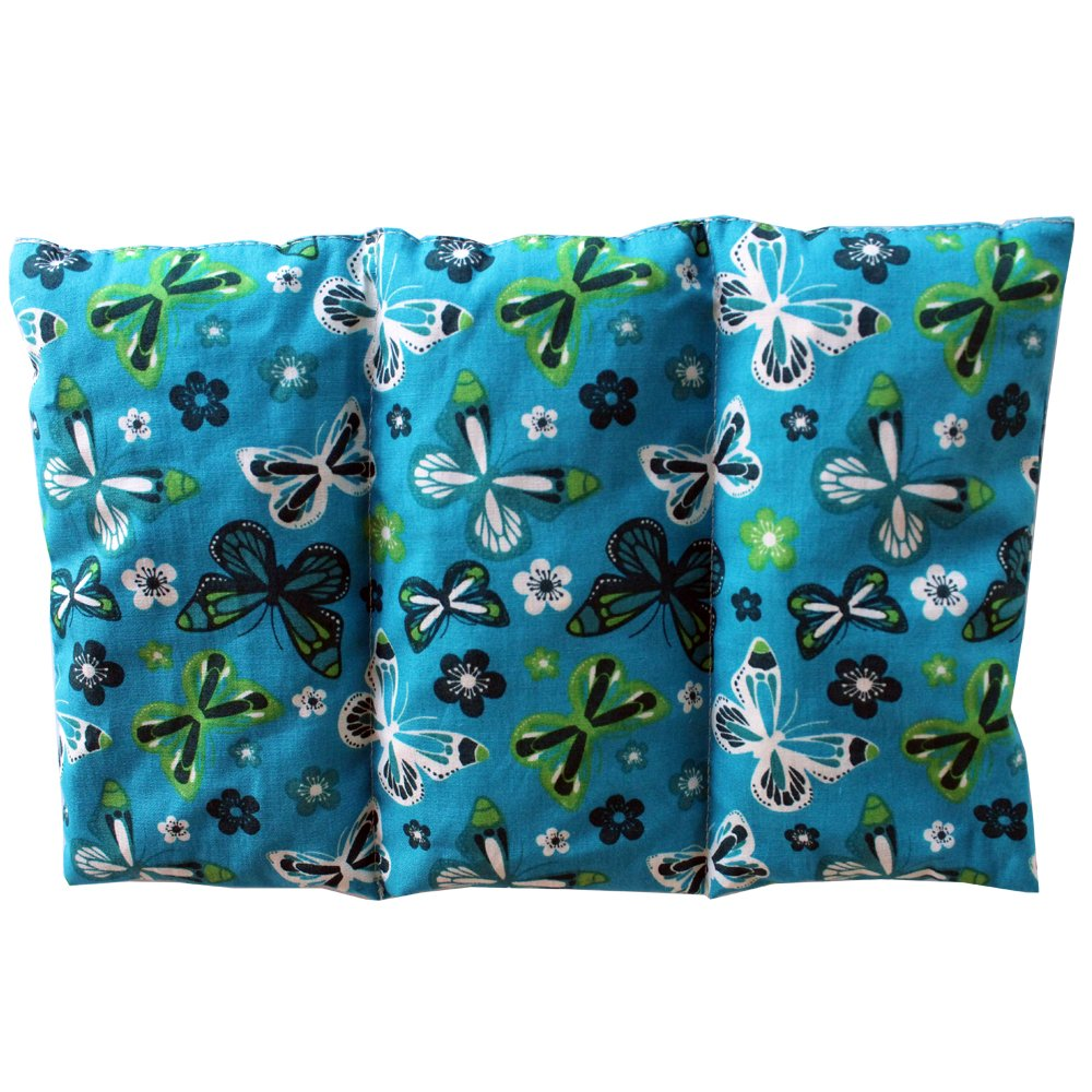 Coussin chauffant Papillons - bleu - rempli de noyaux de cerise - coussin thérapeutique - 26x16cm - 330gr