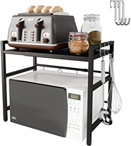 Yikko Microwave Oven Rack Shelf Expandable Kitchen Counter Storage Organizer Microwave Stand Toaster Oven Rack with Hooks Carbon Stainless Steel Easy Assemble (Black)