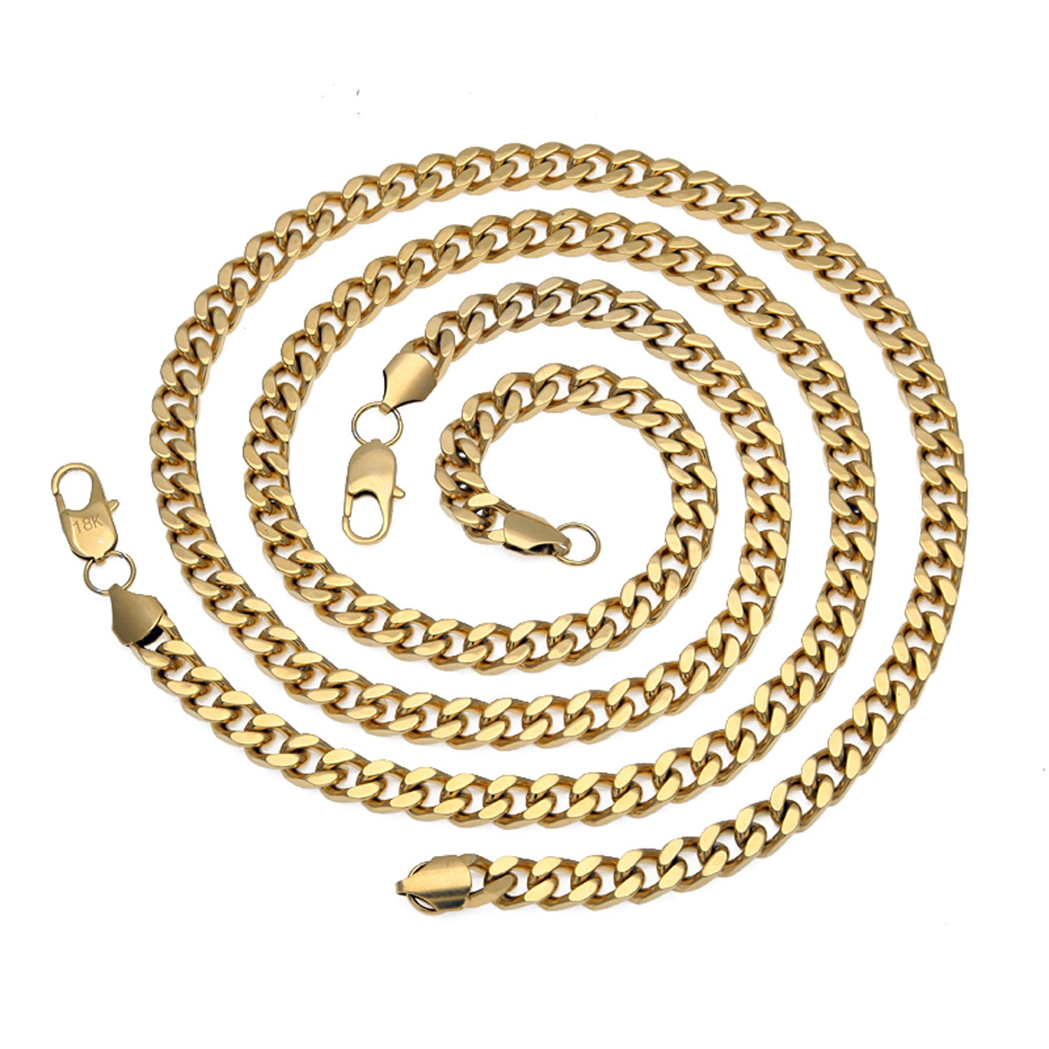 18K Men Cuban Chain Necklace 9MM Miami Link Diamond cut Round Necklace w/ real solid clasp USA PATENTED