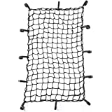 "CZC AUTO 22""x38"" Black Latex Bungee Cargo Net Strech to 44""x76"", Luggage Netting with 2""X2"" Small Mesh and 12 Adjustable…"