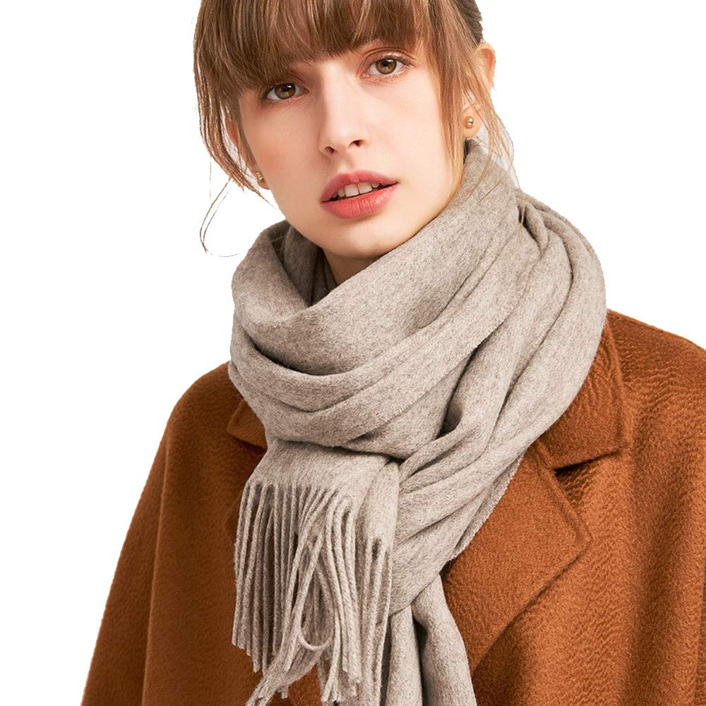 Beige purple cashmere QAR Autumn and Winter Solid color Wool Scarf Korean Students Winter Wild Small Shawl Dualuse Ladies Thick Bib Scarf (color   Light orange)