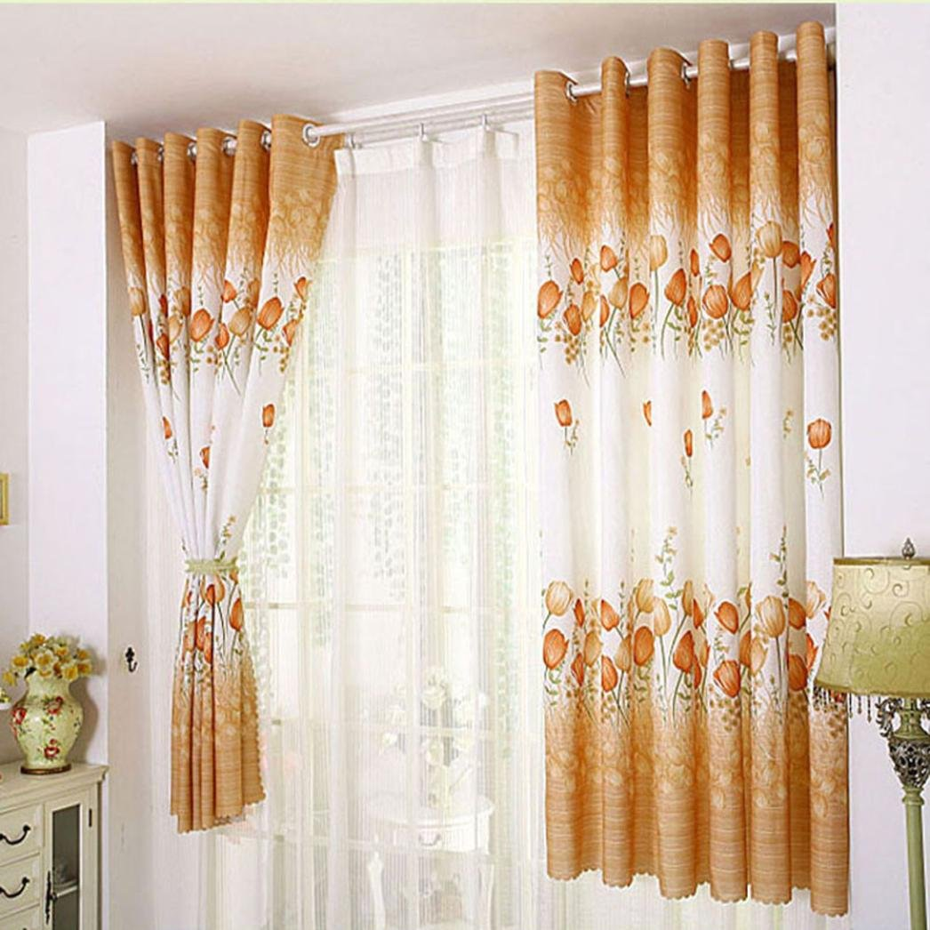 Bovake Tulip curtains (100cm x 200cm) - Tulip Flower Calico Finished Product Cloth Window Screens Curtain (Gold)