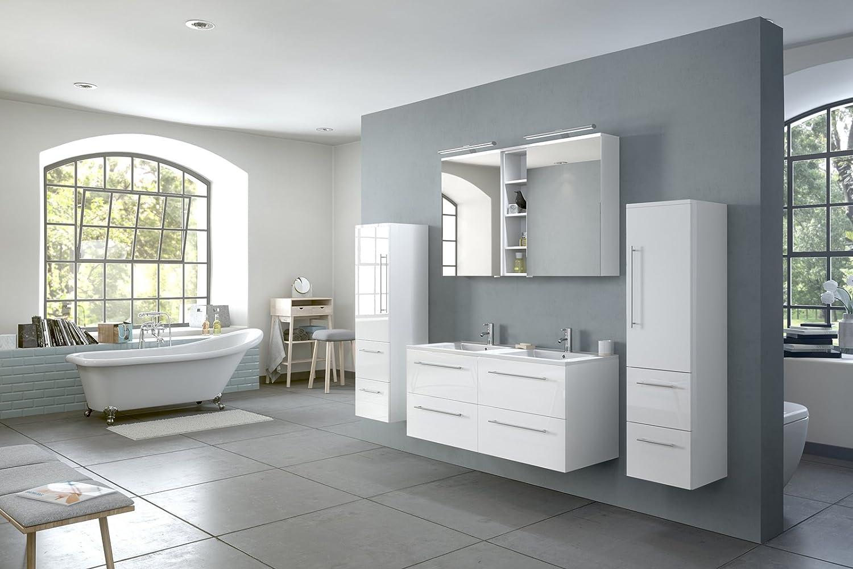 SAM® Conjunto de muebles Villa para el cuarto de baño, ancho 120 cm, blanco brillante