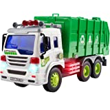 CifToys Friction Powered Car Garbage Truck Toy for Toddlers with Lights and Sound Effects
