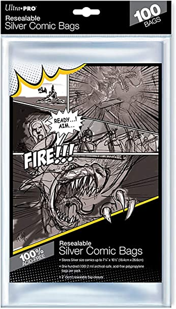 ACID FREE BACKER BOARDS 100 BCW RESEALABLE SILVER COMIC BOOK POLY BAGS