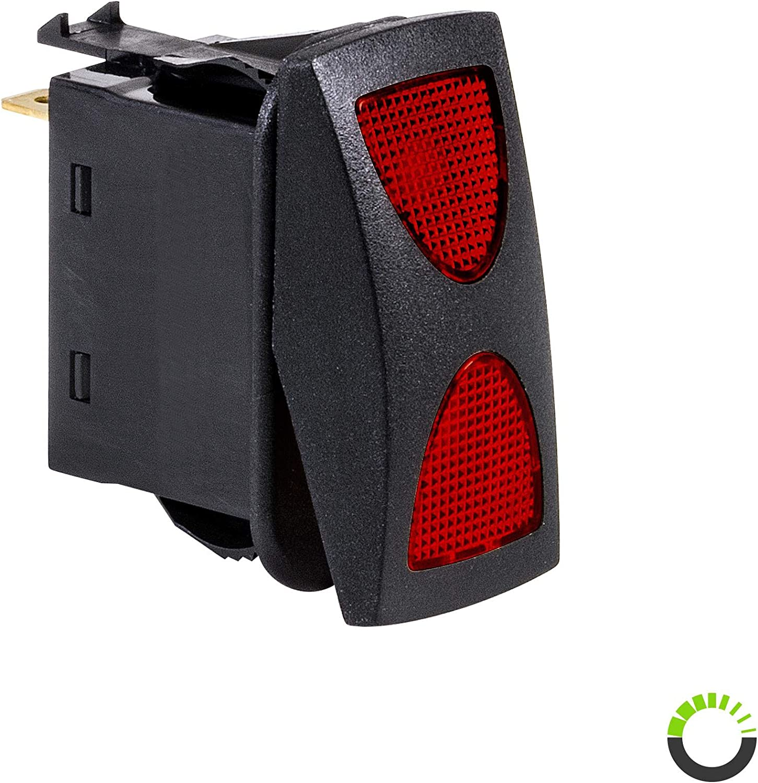 Amber 12V DC 20A 4-Pin LED ON-Off-ON SPDT Rocker Switch