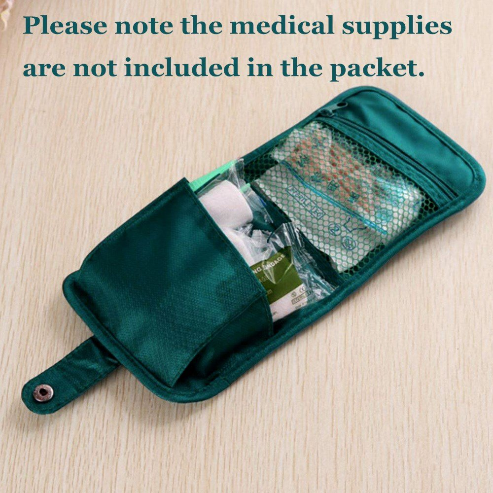 Dual-Use 2-in-1 Bag with Pill Organizer, Ultralight Case, Mini First Aid Kit/Packet, 7 Compartments to Hold Vitamin, Fish Oil, Supplement, Prescription and Medication, 2 Pockets for Medical Supplies