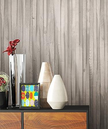 Holztapete Vliestapete Grau Weiß Edel , Schöne Edle Tapete Im Holzwand  Vertäfelung Design , Moderne 3D