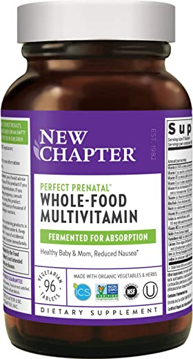 New Chapter Perfect Prenatal Vitamins, 96ct, Organic Prenatal Vitamins, Non-GMO Ingredients for...
