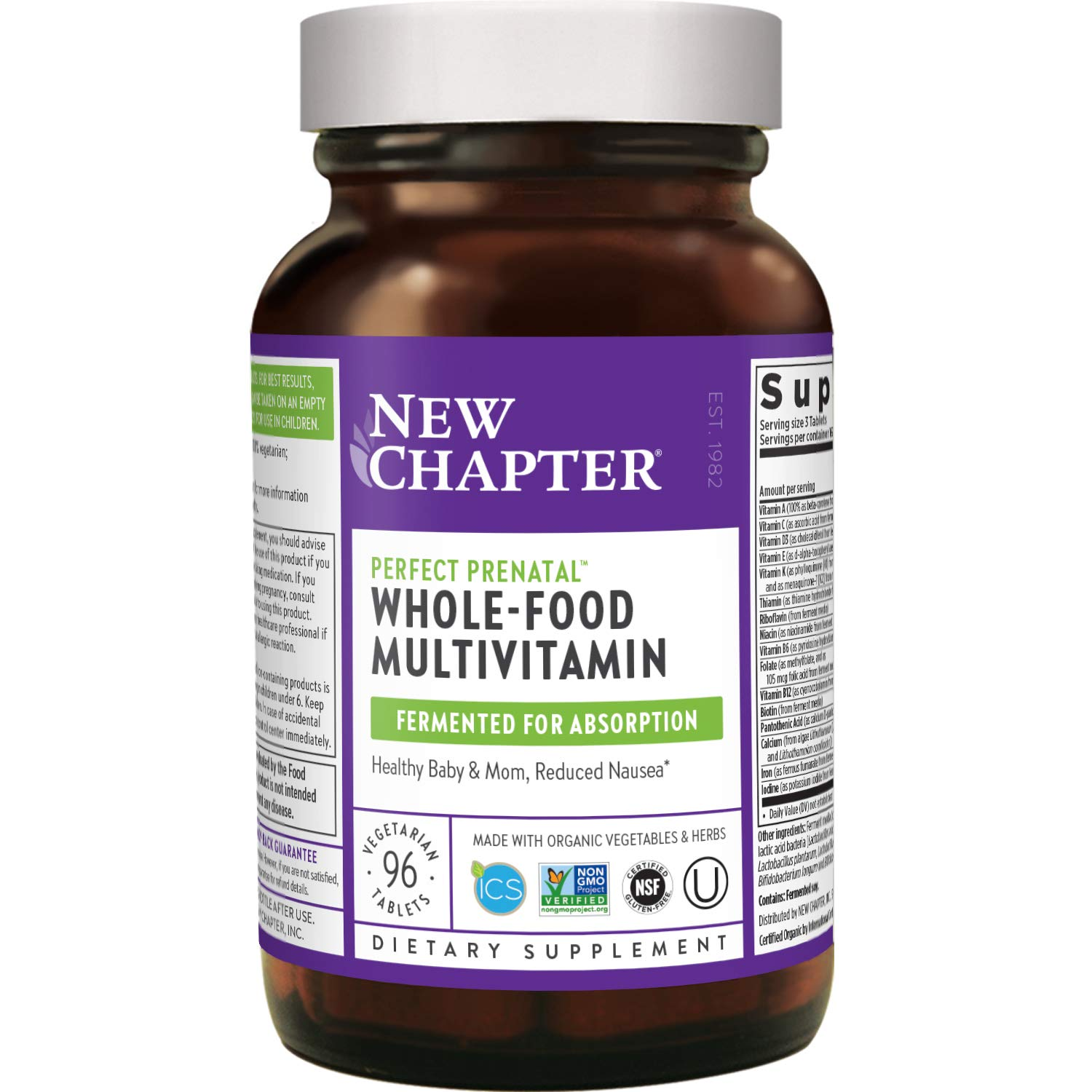 New Chapter Perfect Prenatal Vitamins - 96ct, Organic Prenatal Vitamins, Non-GMO Ingredients for Healthy Baby & Mom - Folate (Methylfolate), Iron, Vitamin D3, Fermented with Whole Foods and Probiotics