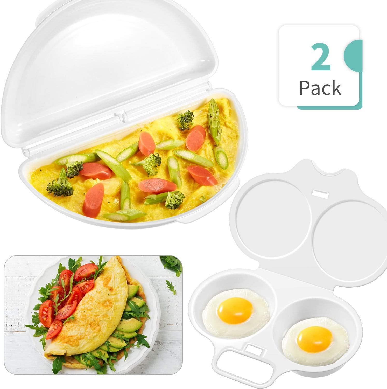 Omelet Pan and Egg Poacher for Microwave, Egg Omelette Maker Egg Poacher Cookware Microwave Cookware Easy Eggs, Dishwasher Safe Non-Stick