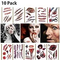 10 Pcs Halloween Tattoo Gesicht,Zombie Narben Vampir Wasserdichte Tattoo Cosplay Aufkleber,Wunden Horror Aufkleber Temporäre Narben Kratzer tattoo Terror Scar Tattoo Stickers