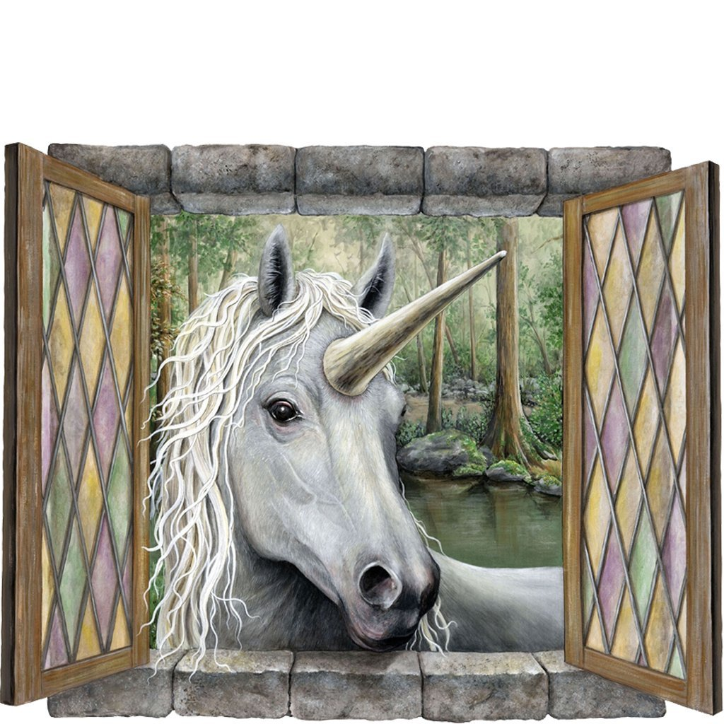 large unicorn wall sticker unicorn visitor self adhesive wall large unicorn wall sticker unicorn visitor self adhesive wall mural for childens bedroom walls a magical fantasy decal with great detail and depth brings