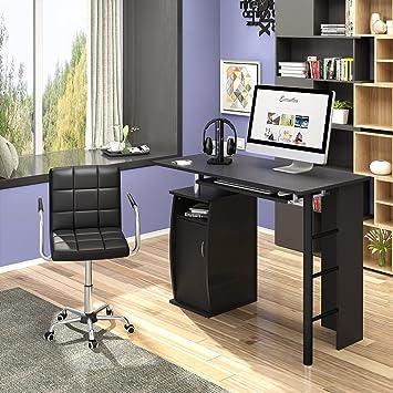 Keinode Computer Schreibtisch Mit 2 Externe Ablagen 1 Schrank Mit 2