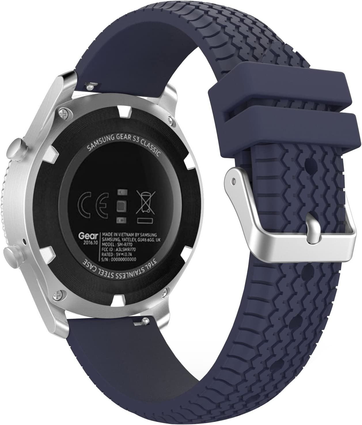 MoKo Samsung Gear S3 Frontier / Galaxy Watch 46mm / Classic Correa, Watch Band Deportiva de Silicona Suave Reemplazo Sport Band para Samsung Galaxy Watch 46mm /S3 Classic Smartwatch, Azul Medianoche: Amazon.es: