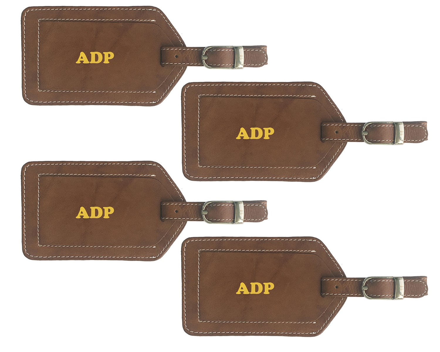 Personalized Monogrammed Antique Saddle Leather Luggage Tags - 4 Pack by 123 Cheap Checks
