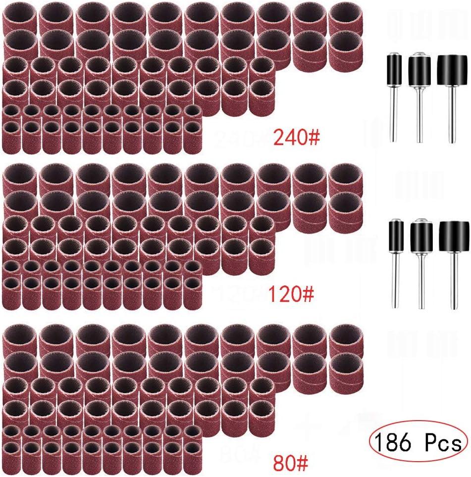 Yesallwas Lot de 186 anneaux de pon/çage pour polisseuse et outils de pon/çage pour outils rotatifs #80#120#240