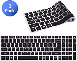 Silicone Keyboard Cover for Acer Aspire E15 E5-573G E5-575 E5-576 E5-576G ES15 ES1-572|Aspire E17 E5-772G|Aspire V15 VN7-592G/V17 VN7-792G/F15 F5-571 F5-573G|Aspire A315 A515 A715 Keyboard Skin, Black