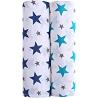 haus & kinder Twinkle Collection 100% Cotton Muslin Baby Swaddles, Oversized, Extra Soft to Baby Delicate Skin, Unisex - Pack of 2 (Size 100 cm by 100 cm)