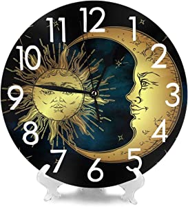 BJHAP 10 Inch Round Hanging Wall Clock, Boho Moon Sun Star Battery Operated Wall Clock Decor for Living Room, Kitchen, Bedroom and Patio