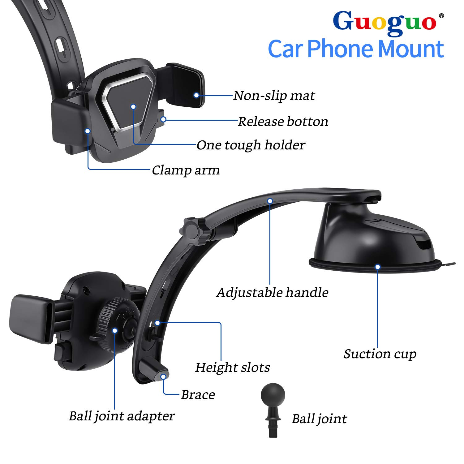 Car Phone Mount, Guoguo Automotive Car Phone Holder for Samsung Galaxy S10/S9/S8/S9+/S8+/Note9/Note8,iPhone X/Xs/Max/XR/8 and Other Smartphones