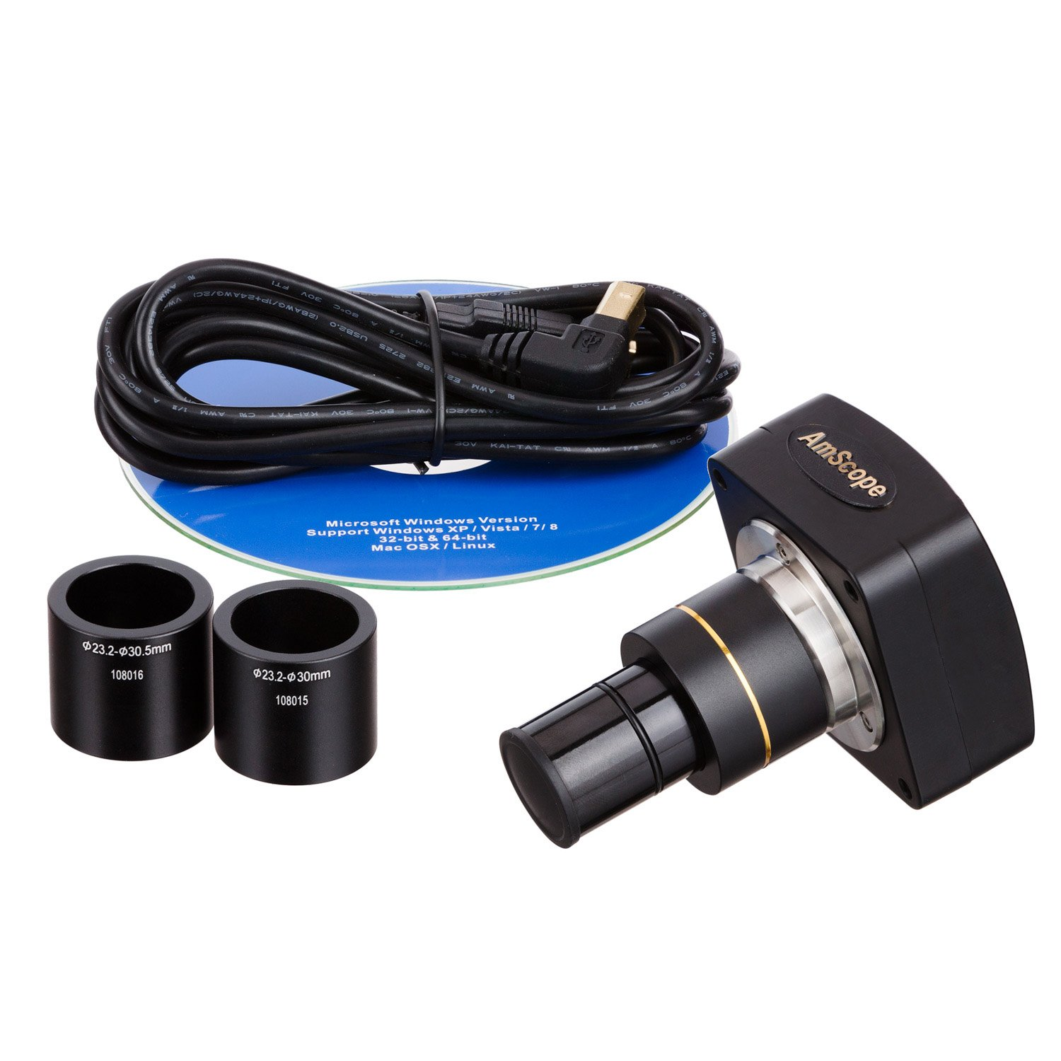 AmScope MU1000 10MP Digital Microscope Camera for Still and Video Images, 40x Magnification, 0.5x Reduction Lens, Eye Tube or C-Mount, USB 2.0 Output, Includes Software by AmScope