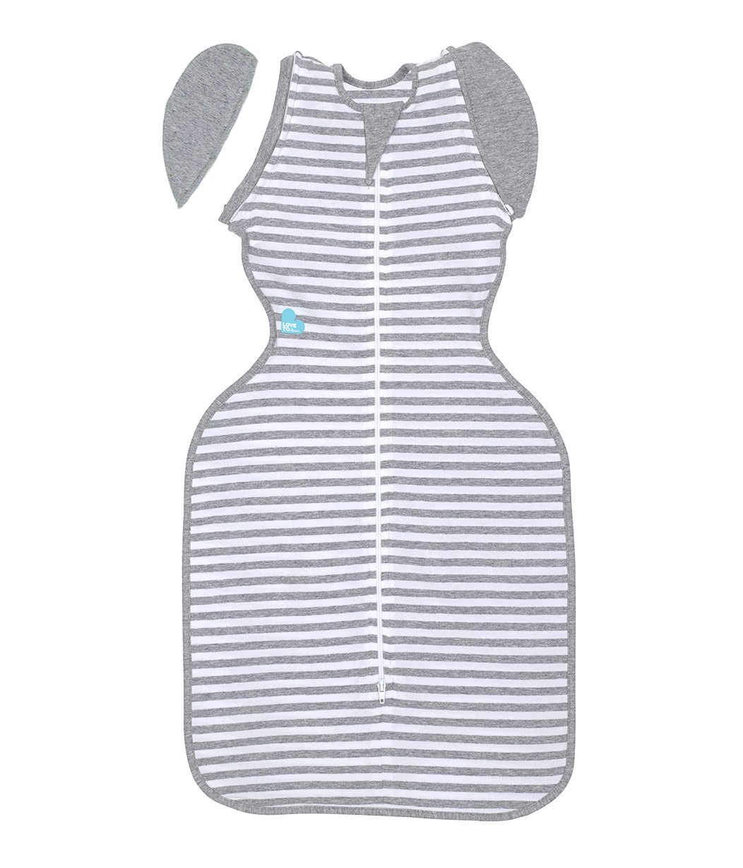 Love To Dream Swaddle UP- 50/50- Gray/White Striped - Large, 18.5-24 lbs