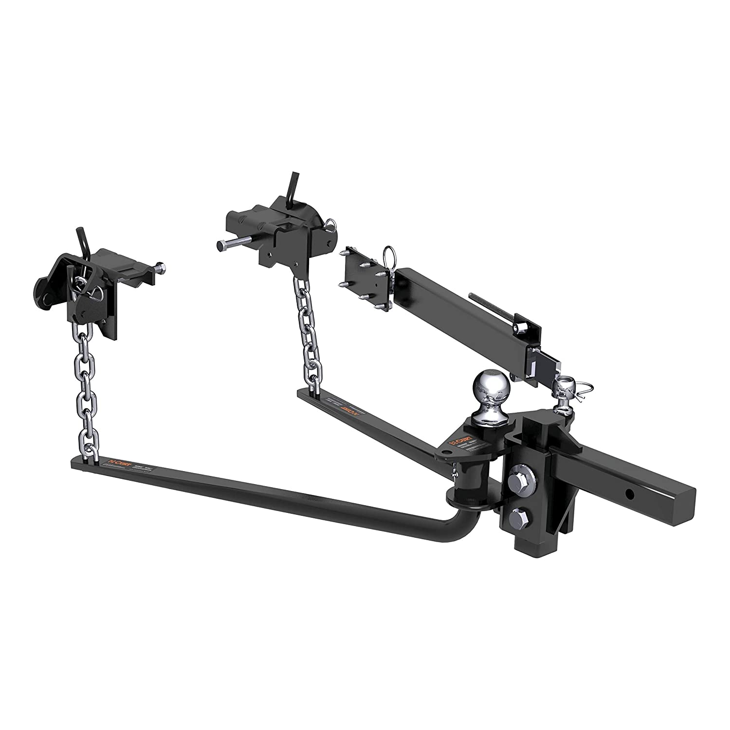 14,000 lbs. GTW, 2 Shank, 2-5//16 Ball CURT 17063 MV Black Round Bar Weight Distribution Hitch with Sway Control Kit