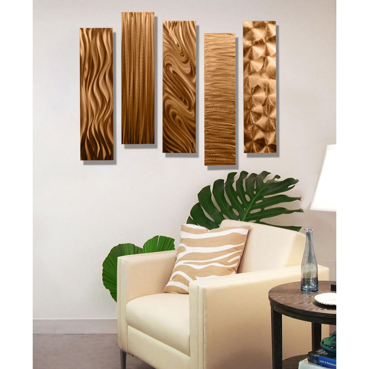 Amazon statements2000 copper metal wall art decor 5 piece amazon statements2000 copper metal wall art decor 5 piece set of modern wall art by jon allen metal art 5 easy pieces copper 24 x 6 each home amipublicfo Image collections