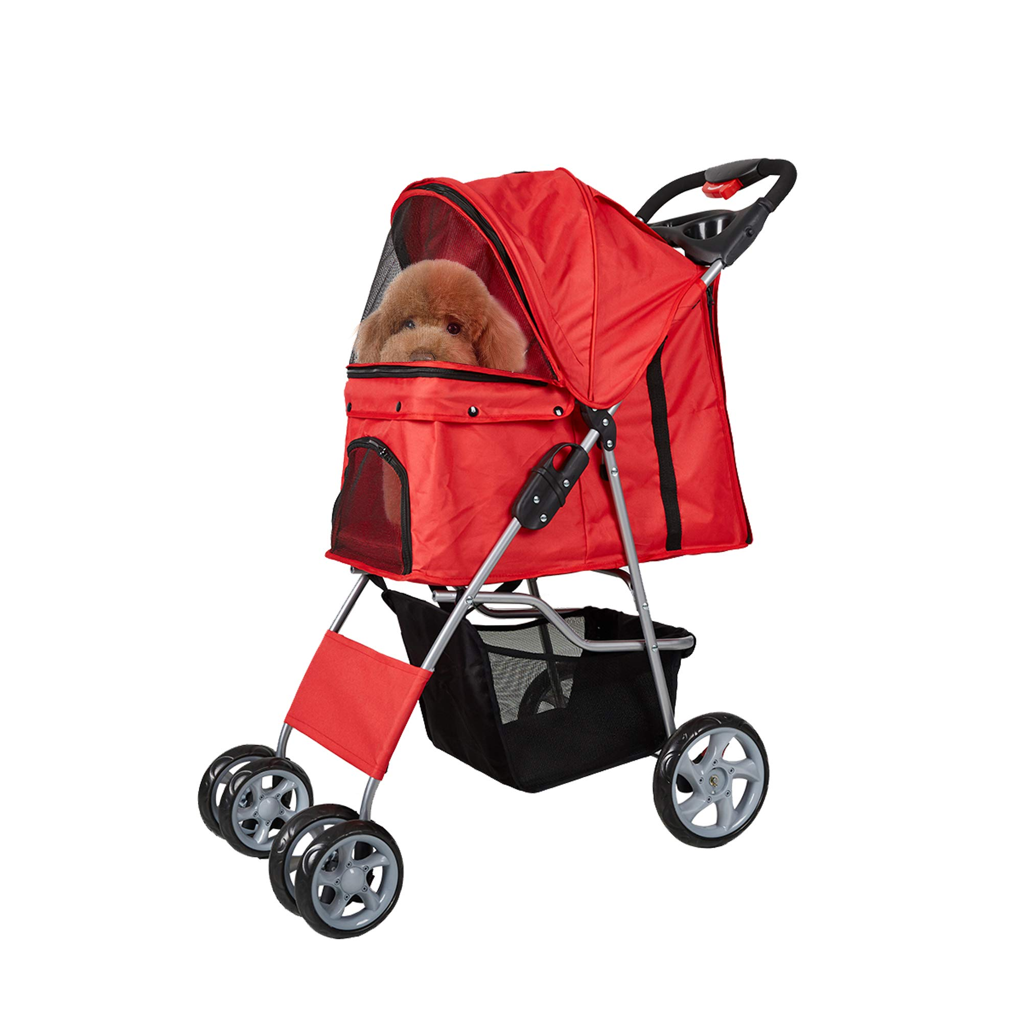 Lucky Tree Dog Stroller with Cup Holders Easy Walk Jogger Pet Cat Cage Travel Carrier Cart with 4 Wheels, Red by Lucky Tree