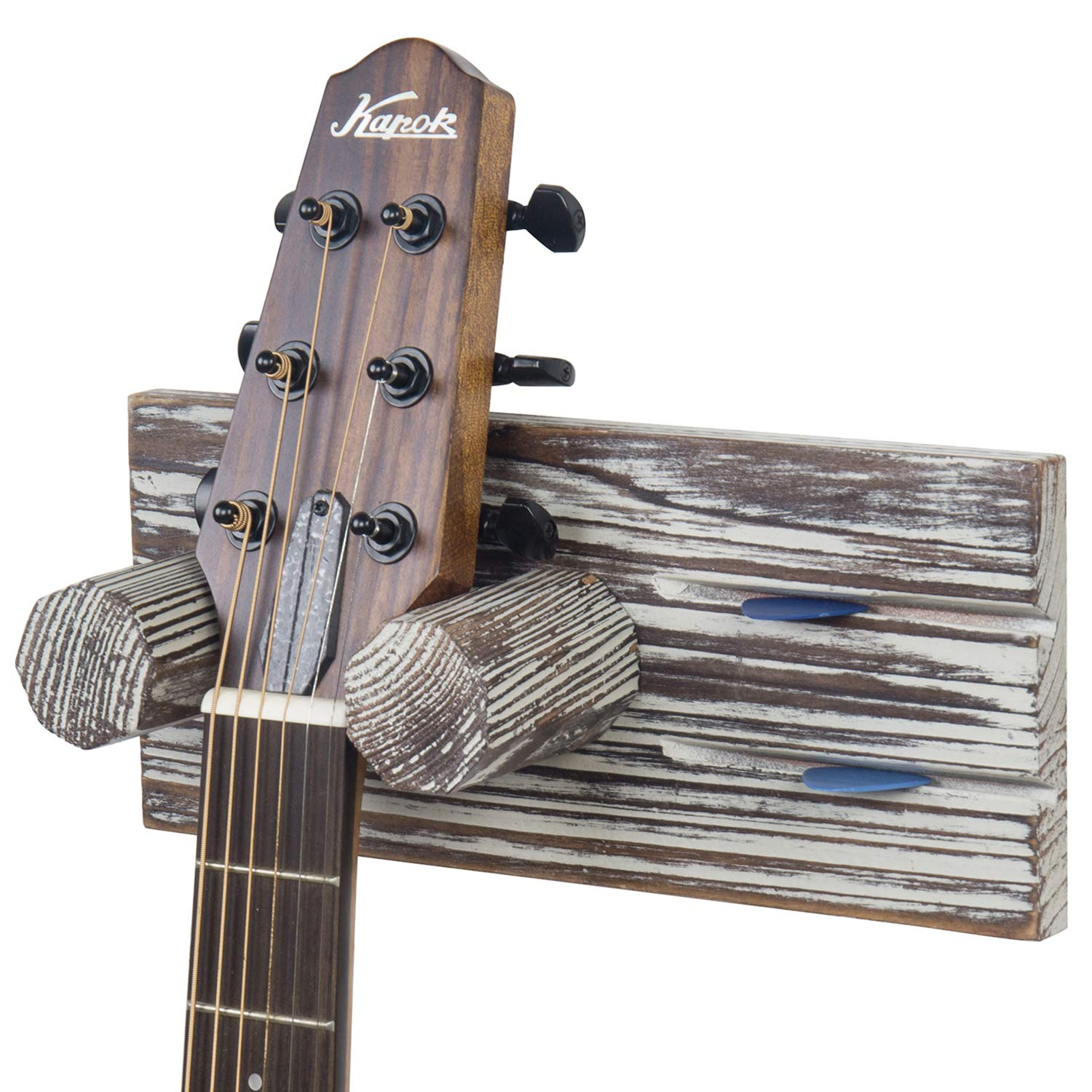 MyGift Torched Wood Wall Mounted Guitar Hanging Rack with Pick Holder