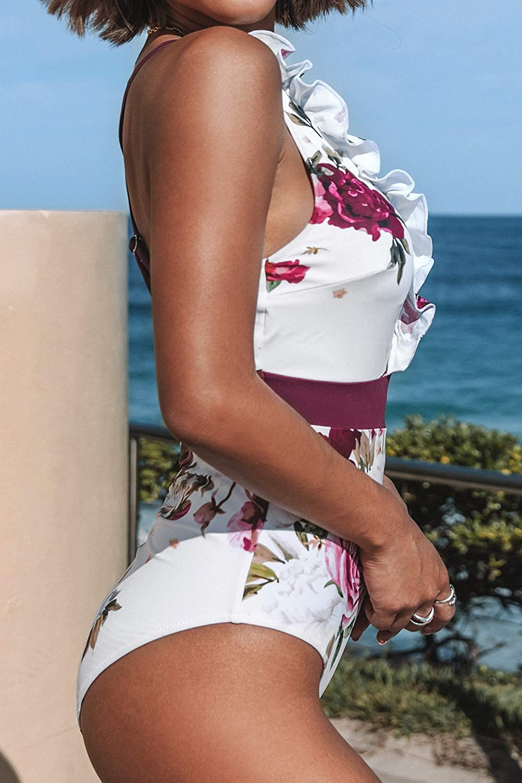 CUPSHE Womens V Neck One Piece Swimsuit Ruffled Back Cross Swimwear