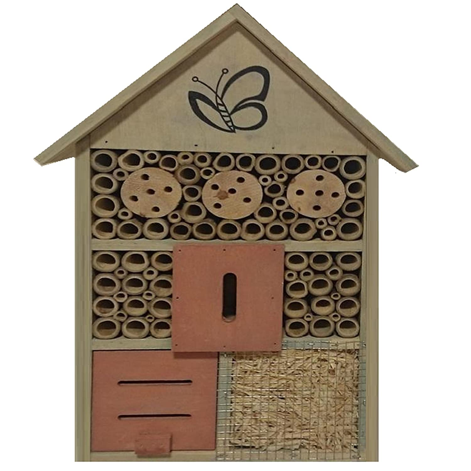 WOODEN LARGE INSECT BUGS GARDEN HANGING HOTEL HOME BEES LADYBIRD NEST BOX HOUSE INSECT HOTEL