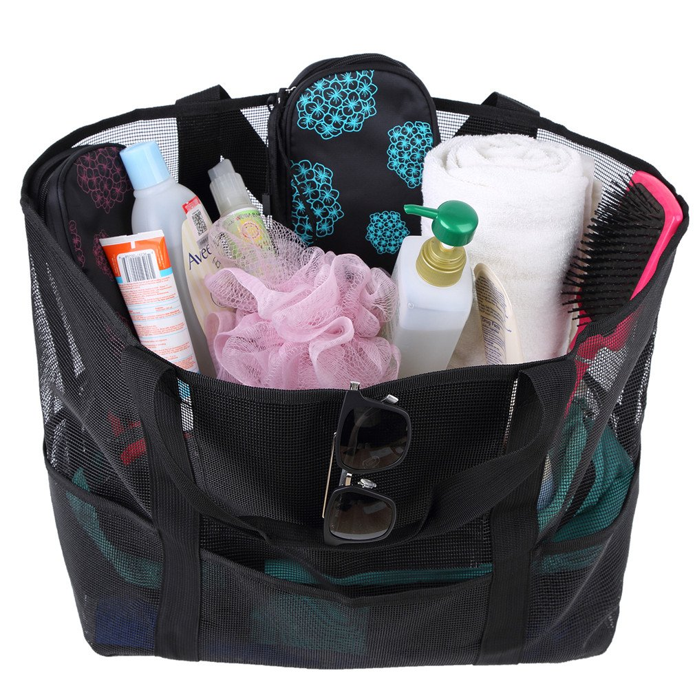 Mesh Beach Bag Tote Toy Bag Zippered Pockets Picnic Tote Large Lightweight Market Grocery Beach Tote Bag for Women and Men (Black)