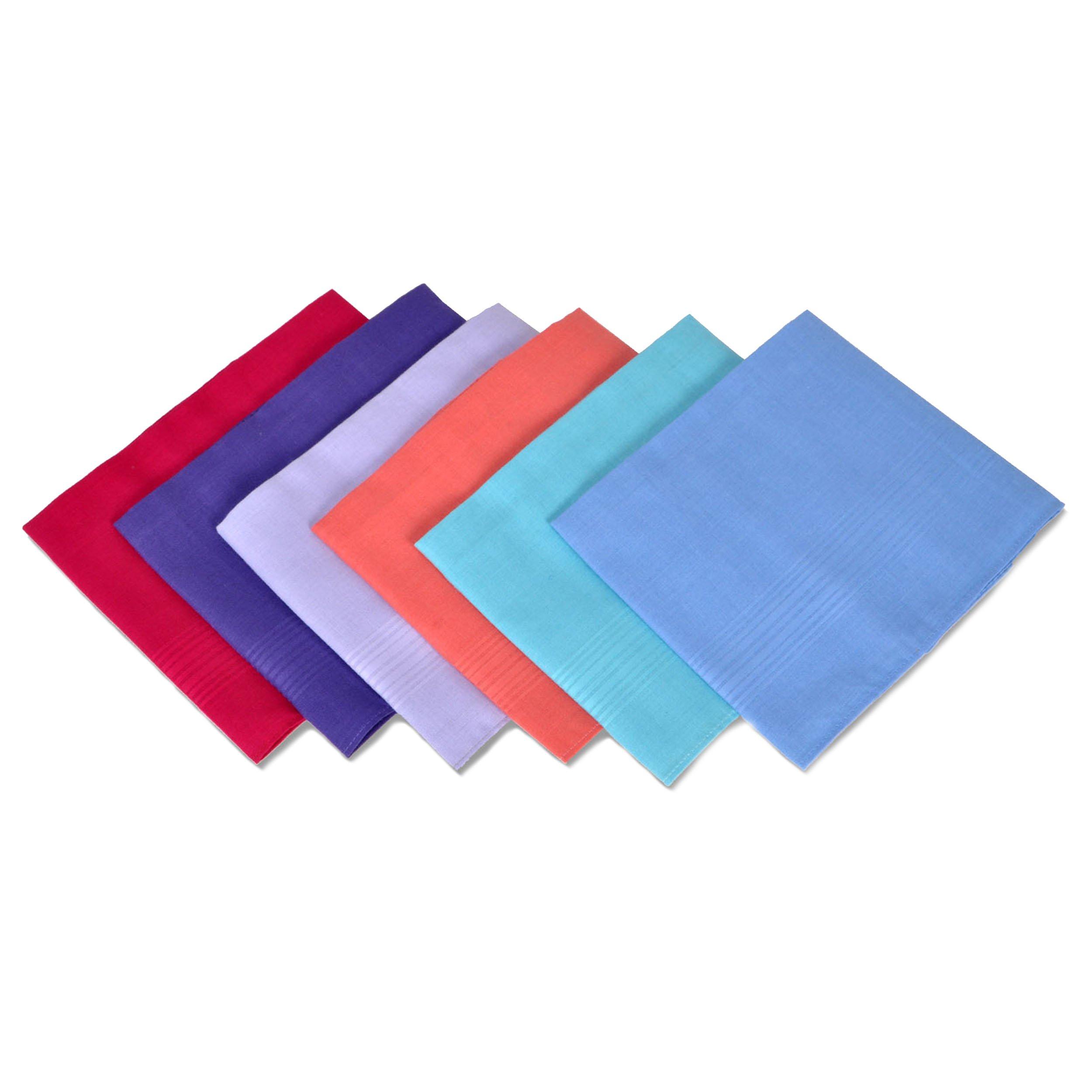 Women's 6pc. Solid Fancy Cotton Handkerchiefs