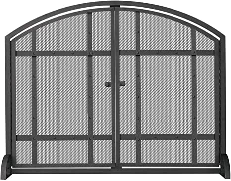Lxla Hearth Gate Fireplace Fire Screen With Door Flat Freestanding Iron Spark Guard Easy Add Or Remove Wood W Embers Proof Fine Mesh Home Kitchen