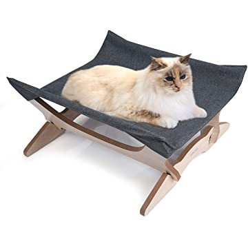 Elevated Cat Beds Cat Hammock Pet Cots Small Dog Beds Wooden Detachable Wooden Frame Square Hanging Cat Sofa Pet Furniture Sleeping Washable for Rabbit Cat Kitten Puppy Indoor/ Outdoor Sunshine
