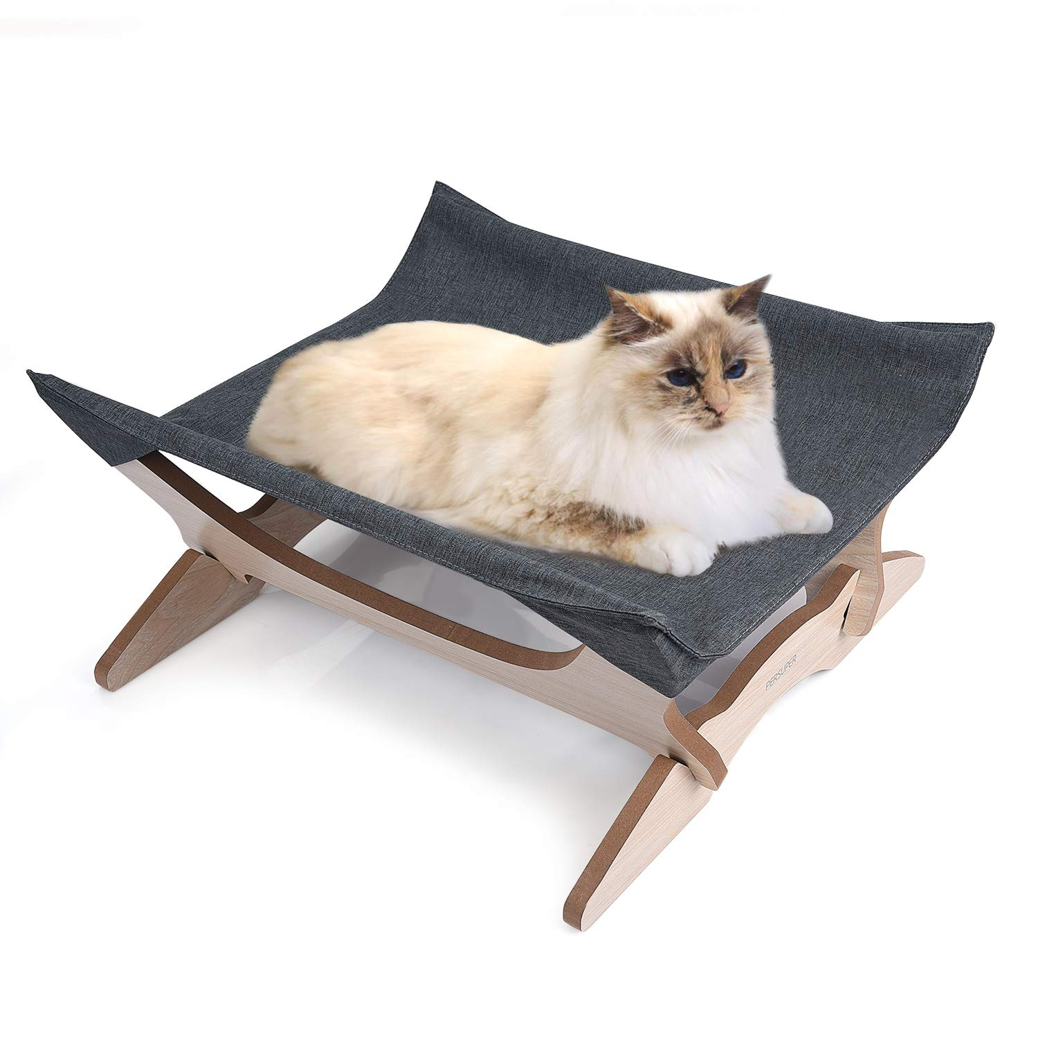 Elevated Cat Beds Cat Hammock Pet Cots Small Dog Beds Wooden Detachable Wooden Frame Square Hanging Cat Sofa Pet Furniture Sleeping Washable for Rabbit Cat Kitten Puppy Indoor/ Outdoor Sunshine grey by PERSUPER