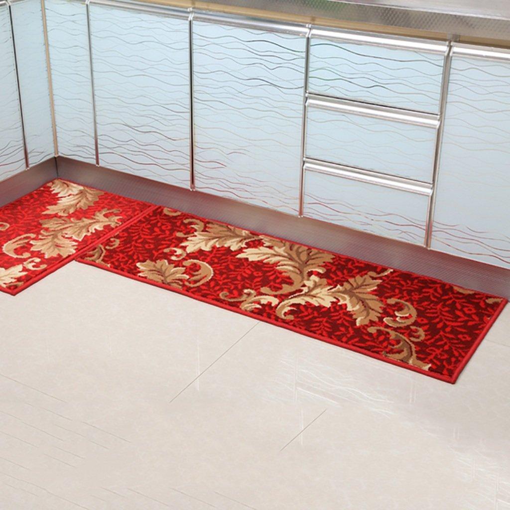 WENZHE 敷物 キッチンカーペットマット キッチンマットドアマット吸水性ノンスリップ耐油洗濯機、厚さ13mm、11サイズ ( 色 : 赤 , サイズ さいず : 50*280cm ) 50*280cm 赤 B076SV56MC
