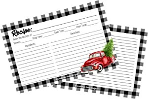 Buffalo Plaid Decor Old Red Truck Recipe Cards 4x6 Pack of 50 Double Sided Holiday Cookie Exchange