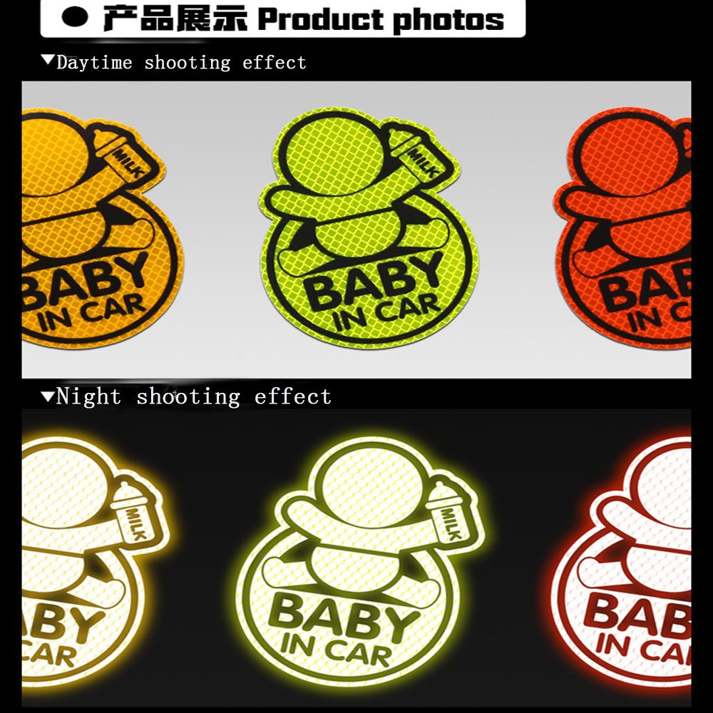 reducing Road Anger and New Parents and Childrens Accidents Reflective Vehicle Logo Sticker Bumper for New Parents CuteBaby in CAR Reflective car Bumper Magnet More Than 2 Reflective Stickers