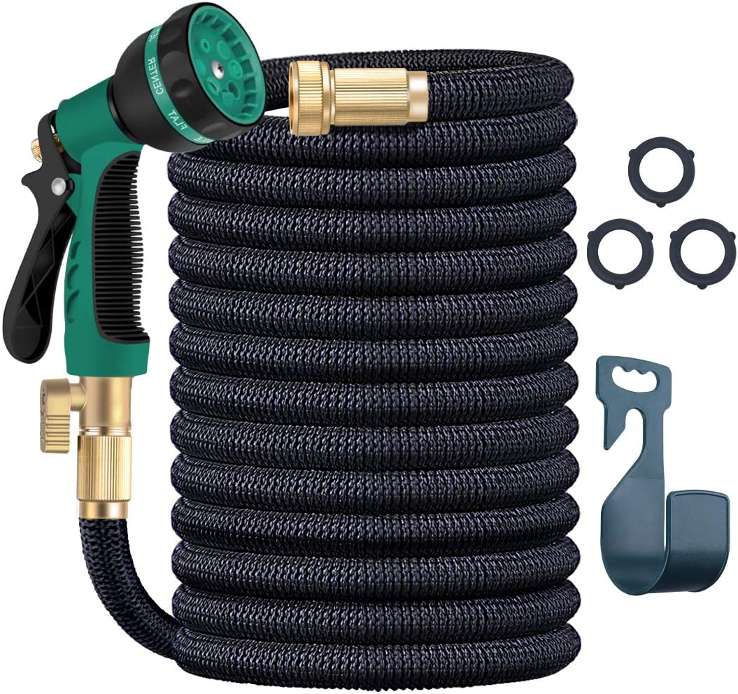 """Luckgot Expandable Garden Hose 50Ft in Length Hose 8 Functions Sprayer with 4-Layer of Thickened Latex 3/4"""" Solid Brass Fittings Extra Strength Fabric (Expand from 17 to 50 Feet)"""